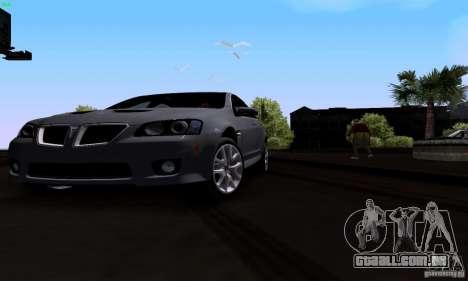 Pontiac G8 GXP para GTA San Andreas vista interior