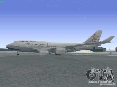 Boeing 747-400 China Airlines para GTA San Andreas esquerda vista