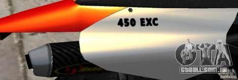 KTM EXC 450 para GTA 4 vista interior
