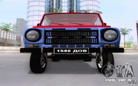 Caminhão de reboque de LuAZ 13021 para GTA San Andreas vista interior