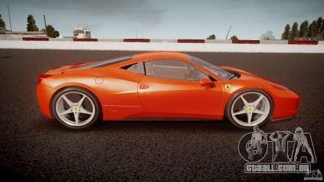 Ferrari 458 Italia 2010 para GTA 4 esquerda vista