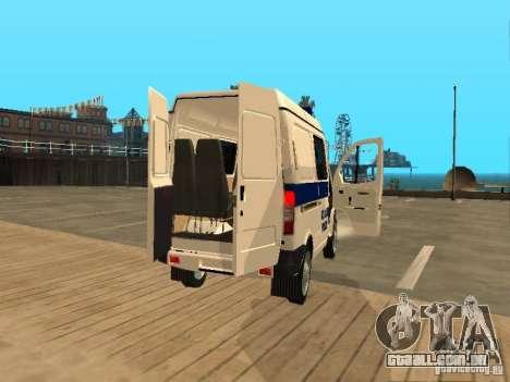 GAZ 2217 Sobol polícia para GTA San Andreas vista traseira