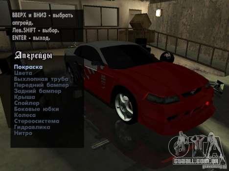 Ford Mustang Cobra R Tuneable para GTA San Andreas vista traseira