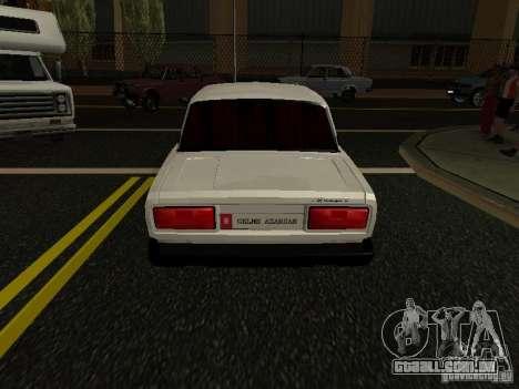 VAZ 2107 Avtosh Style para GTA San Andreas traseira esquerda vista