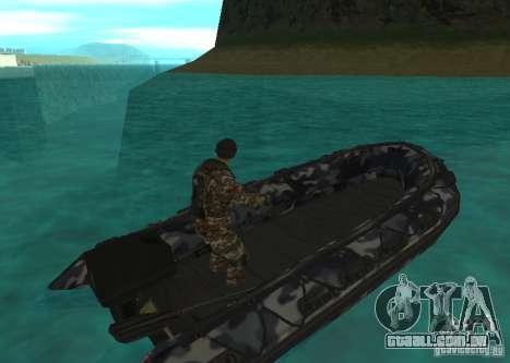 Barco inflável do Zodíaco para GTA San Andreas traseira esquerda vista