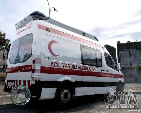 Mercedes Sprinter Turkish Ambulance para GTA 4 traseira esquerda vista