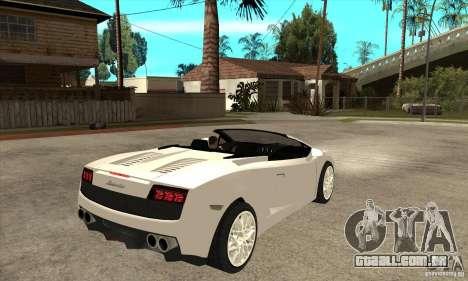 Lamborghini Gallardo Spyder v2 para GTA San Andreas vista direita