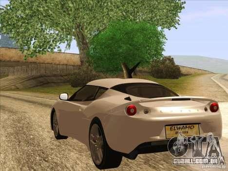 Lotus Evora para GTA San Andreas esquerda vista