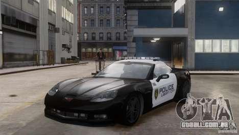 Chevrolet Corvette LCPD Pursuit Unit para GTA 4 vista de volta