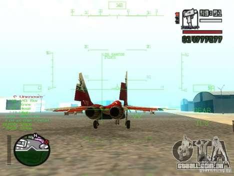 MIG 29 OVT para GTA San Andreas traseira esquerda vista
