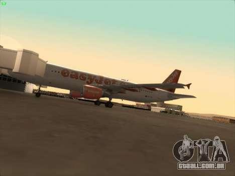 Airbus A320-214 EasyJet para GTA San Andreas vista superior