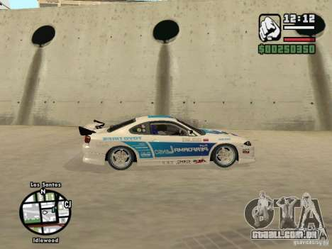 Nissan Silvia S15 Drift para GTA San Andreas traseira esquerda vista