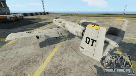 A-10A Thunderbolt II para GTA 4 traseira esquerda vista