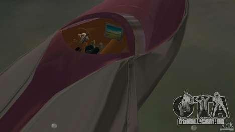 Bugatti Sang Bleu Speedboat para GTA Vice City vista traseira