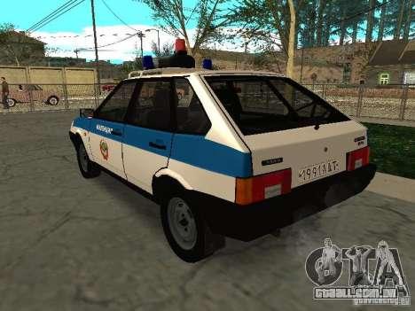 Polícia de 2109 VAZ para GTA San Andreas traseira esquerda vista