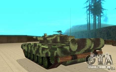 Tanque T-72 para GTA San Andreas traseira esquerda vista