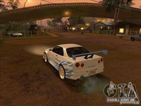 Nissan Skyline GT-R R34 2 Fast 2 Furious para GTA San Andreas esquerda vista