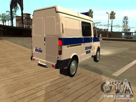 GAZ 2217 Sobol polícia para GTA San Andreas traseira esquerda vista
