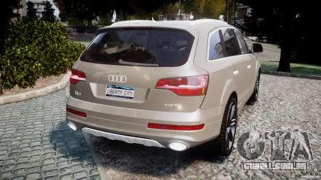 Audi Q7 V12 TDI Quattro Stock  v2.0 para GTA 4 traseira esquerda vista