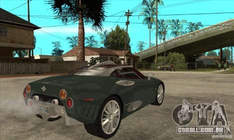 Spyker C8 Laviolete para GTA San Andreas vista direita