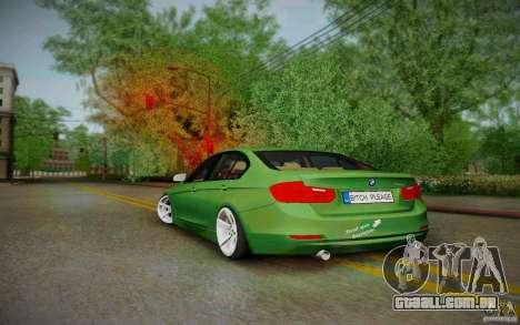 BMW 3 Series F30 Stanced 2012 para GTA San Andreas traseira esquerda vista