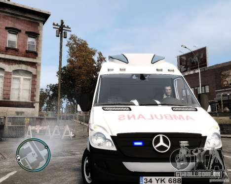 Mercedes Sprinter Turkish Ambulance para GTA 4 vista de volta