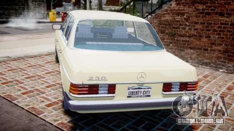 Mercedes-Benz 230E 1976 para GTA 4 traseira esquerda vista