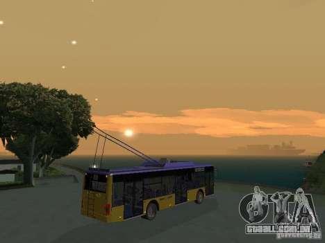 Trólebus LAZ e-183 para GTA San Andreas vista interior
