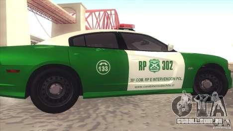 Dodge Charger SRT8 Carabineros para GTA San Andreas esquerda vista