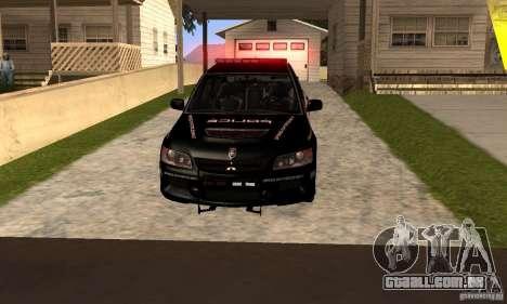 Mitsubishi Lancer Evo VIII MR Police para GTA San Andreas traseira esquerda vista
