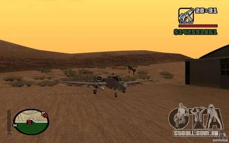 Thunderbold A-10 para GTA San Andreas esquerda vista