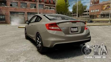 Honda Civic Si Coupe 2012 para GTA 4 traseira esquerda vista