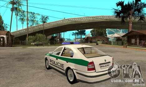 Skoda Octavia Police CZ para GTA San Andreas traseira esquerda vista