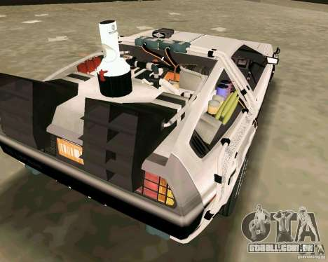 BTTF DeLorean DMC 12 para GTA Vice City vista interior