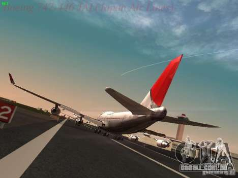 Boeing 747-446 Japan-Airlines para GTA San Andreas traseira esquerda vista