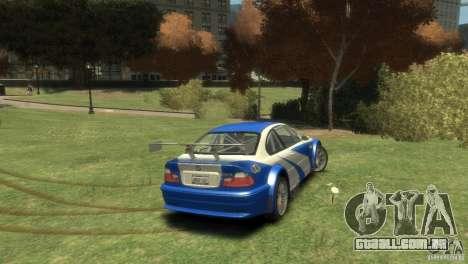 BMW M3 GTR NFS MOST WANTED para GTA 4 vista direita
