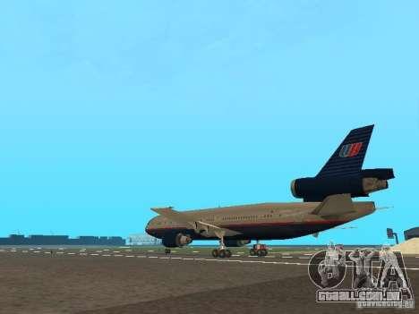 McDonell Douglas DC10 United Airlines para GTA San Andreas traseira esquerda vista