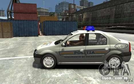 Dacia Logan Prestige Politie para GTA 4 esquerda vista