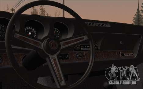 Oldsmobile Hurst/Olds 455 Holiday Coupe 1969 para GTA San Andreas vista interior