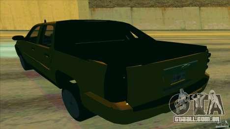 Chevrolet Avalanche 2011 para GTA San Andreas traseira esquerda vista