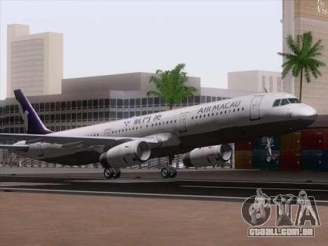 Airbus A321 Air Macau para GTA San Andreas esquerda vista