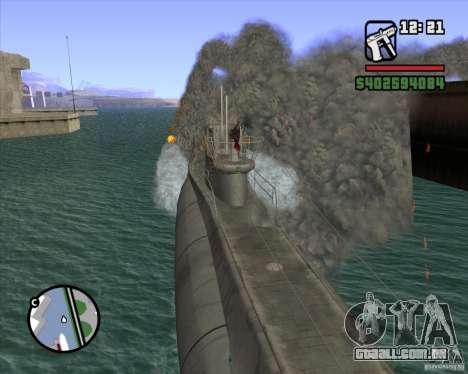 U99 German Submarine para GTA San Andreas sexta tela