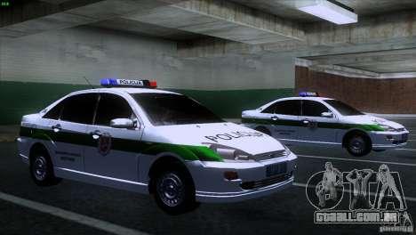 Ford Focus Policija para GTA San Andreas vista direita