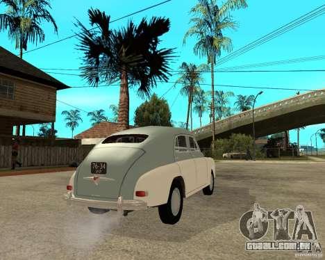 GAZ M20 Pobeda para GTA San Andreas traseira esquerda vista