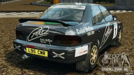 Subaru Impreza WRX STI 1995 Rally version para GTA 4 traseira esquerda vista