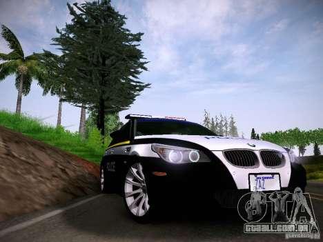 BMW M5 E60 Police para GTA San Andreas traseira esquerda vista