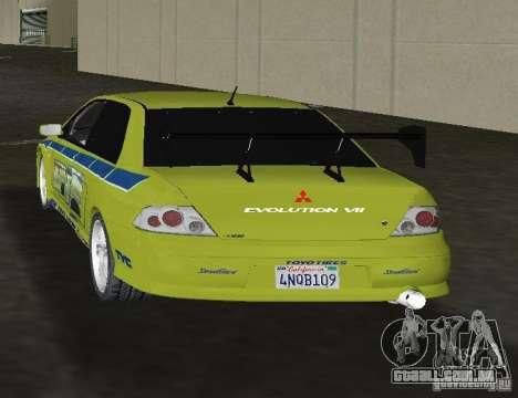Mitsubishi Lancer Evolution VII para GTA Vice City vista traseira esquerda
