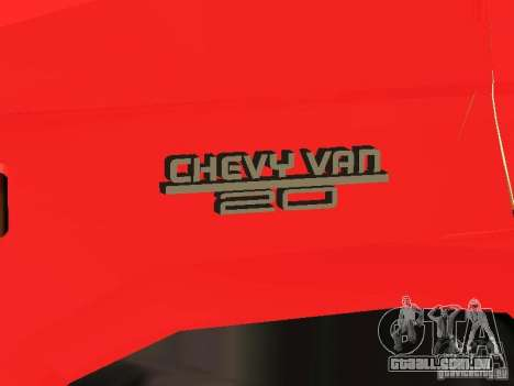 Chevrolet Van G20 LAFD para GTA San Andreas vista interior