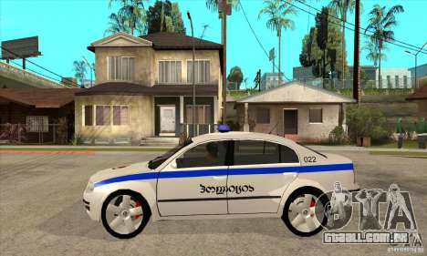 Skoda SuperB GEO Police para GTA San Andreas esquerda vista