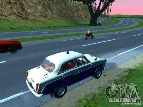 Moskvitch 403 com polícia para GTA San Andreas traseira esquerda vista